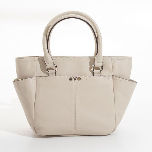 Carry a neutral tote while traveling that will hold all of your essentials and go with everything in your suitcase ~Tignanello Polished Pocket French Tote-Sand from Boscovs.com #fashion #travel