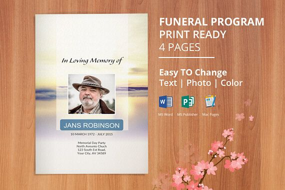 Printable Funeral Program Template Order Of Service Program