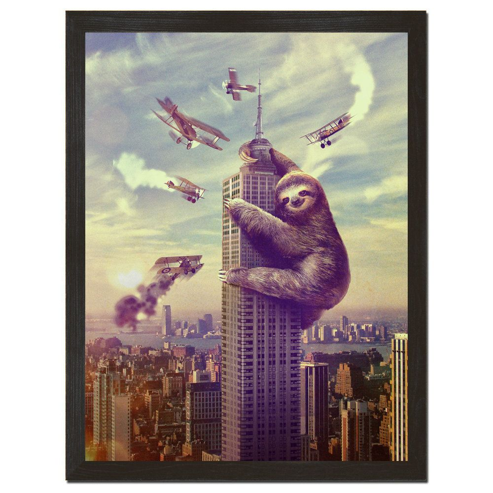 Wall Art, Sloth,  Slothzilla Print 18x24 Print by sharpshirter on Etsy