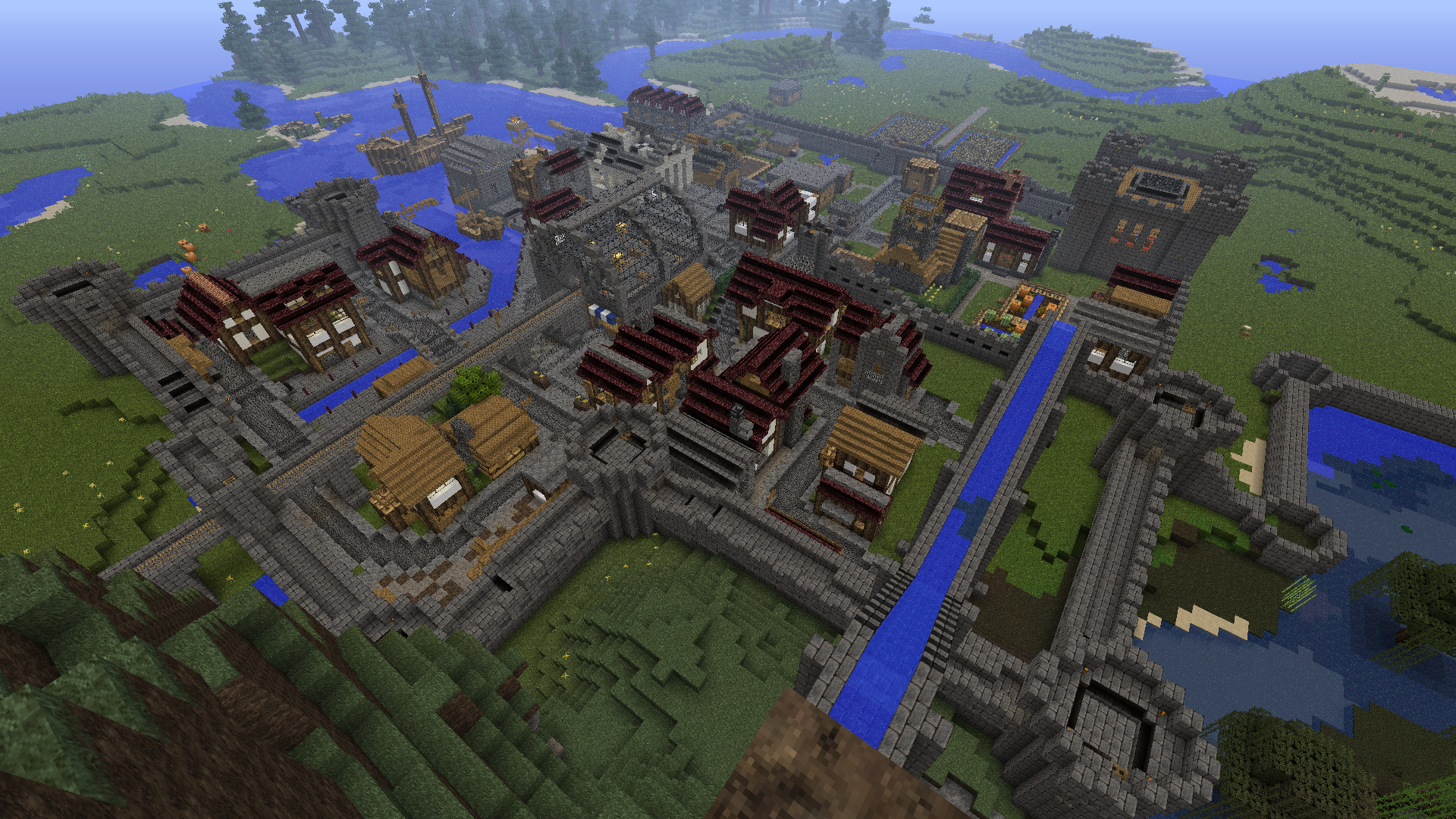 Yet Another Medieval Town  Wip  - With Aquaduct  Castle  Harbor  And Railroad
