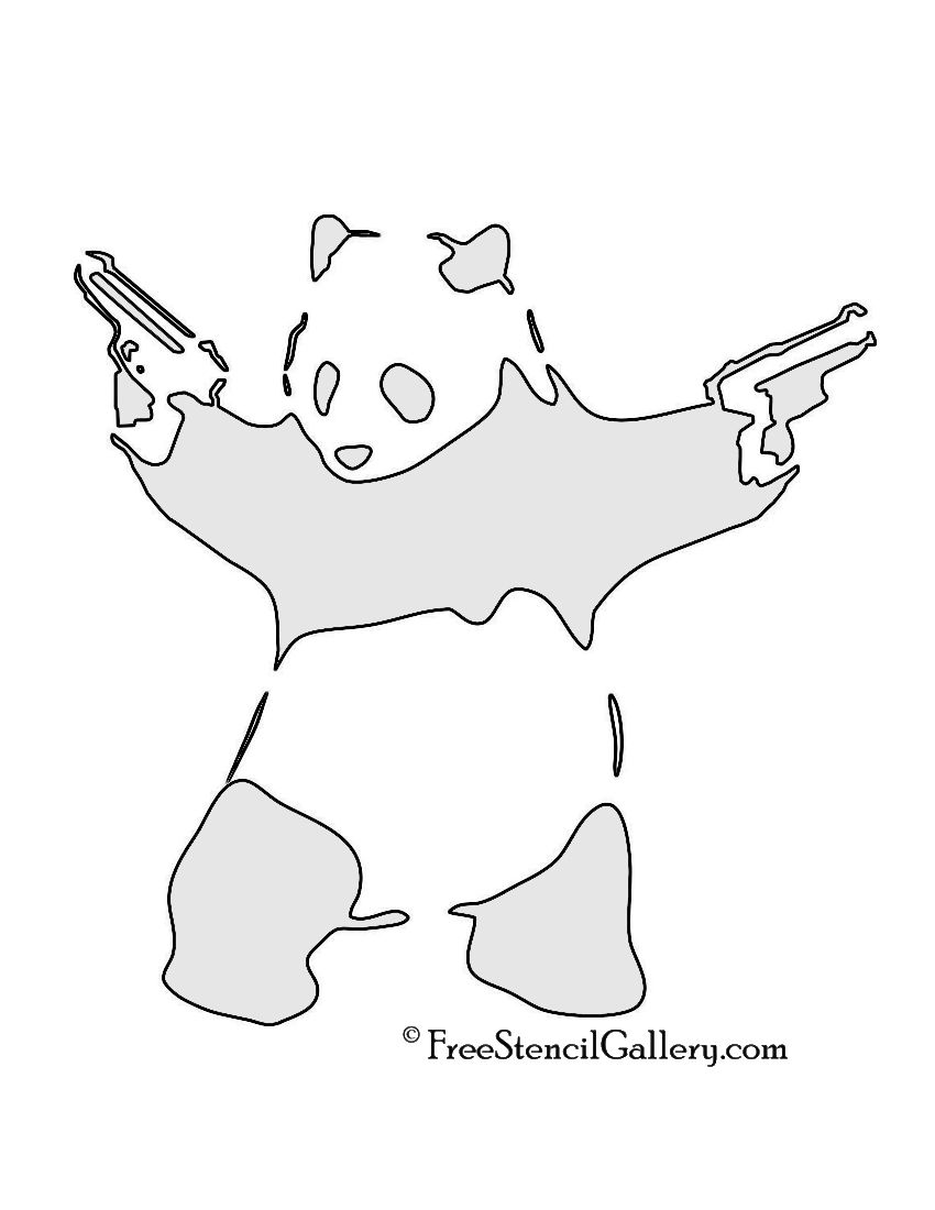 Banksy panda with guns sticker truck stickers logos and vinyl - Banksy Panda With Guns Stencil