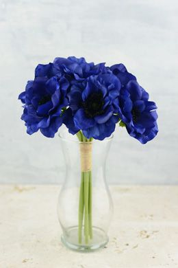 Anemone faux flower bundle in navy blue 12 tall pinterest a beautiful blue anemone bouquet this gorgeous anemone silk flower bundle with its black centers is tied with raffia add other flowers and mightylinksfo