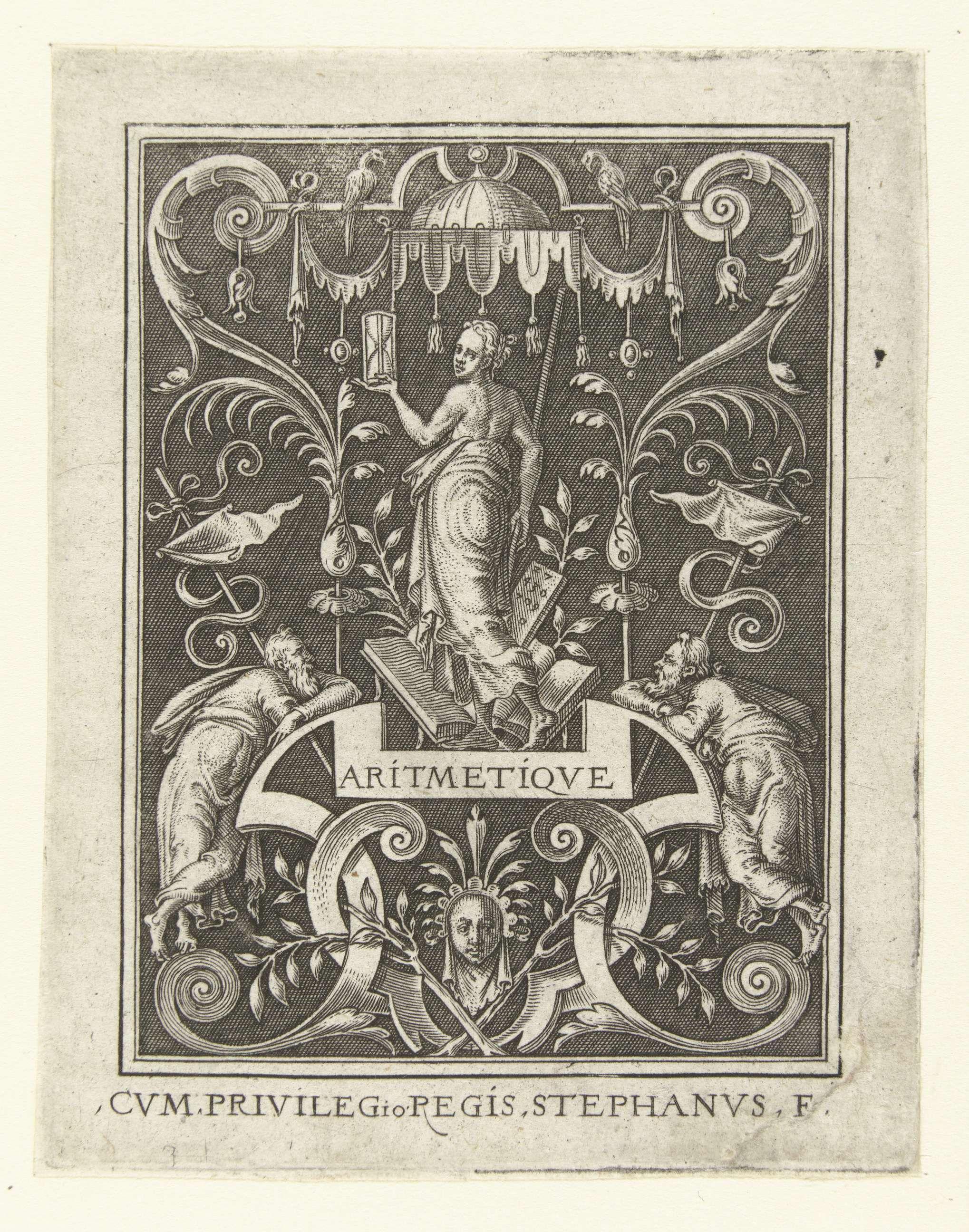 Etienne Delaune | Rekenkunde, Etienne Delaune, 1528 - 1583 | De rekenkunde met een zandloper in de hand. Linksonder en rechtsonder leunt een oude man regen een voluut. Uit serie van 6 bladen.
