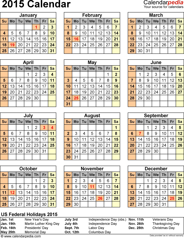 Template 14 2015 Calendar For Excel1 Page Portrait Orientation