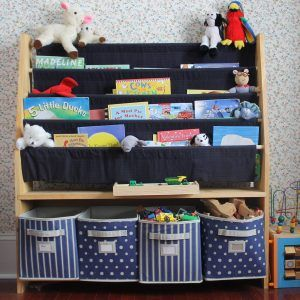 Sling Bookshelf With Storage Bins