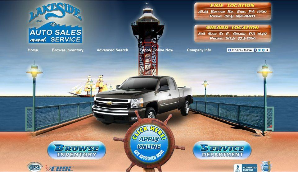 Check Out This Site Design For Lakeside Auto Great 3d And Flash Animation With A Very Relaxing Lakeshore Color Scheme Site Design Cars For Sale Web Design