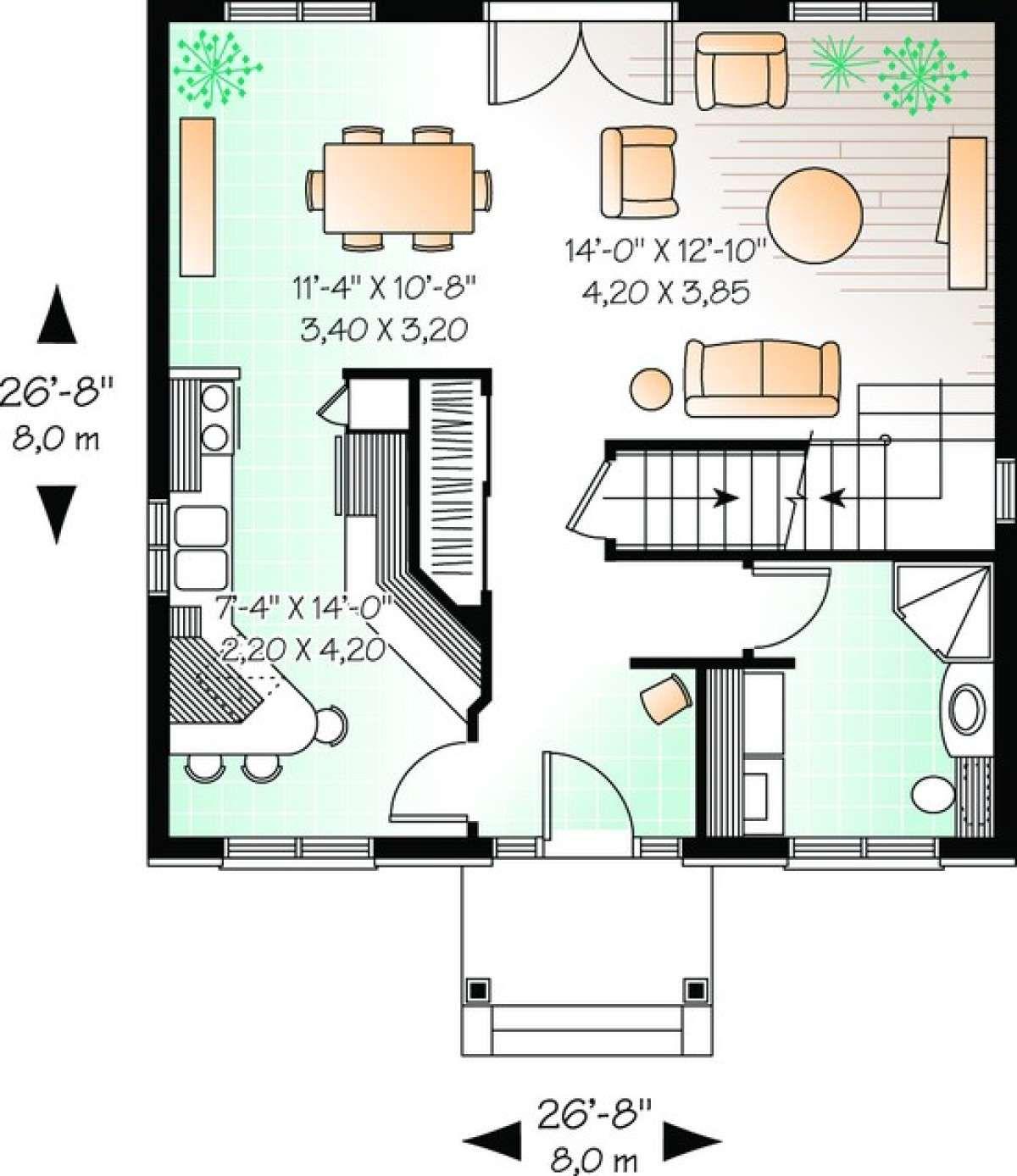 House Plan 034 00928 European Plan 1 422 Square Feet 3 Bedrooms 2 Bathrooms In 2021 Colonial House Plans House Plans 20x30 House Plans