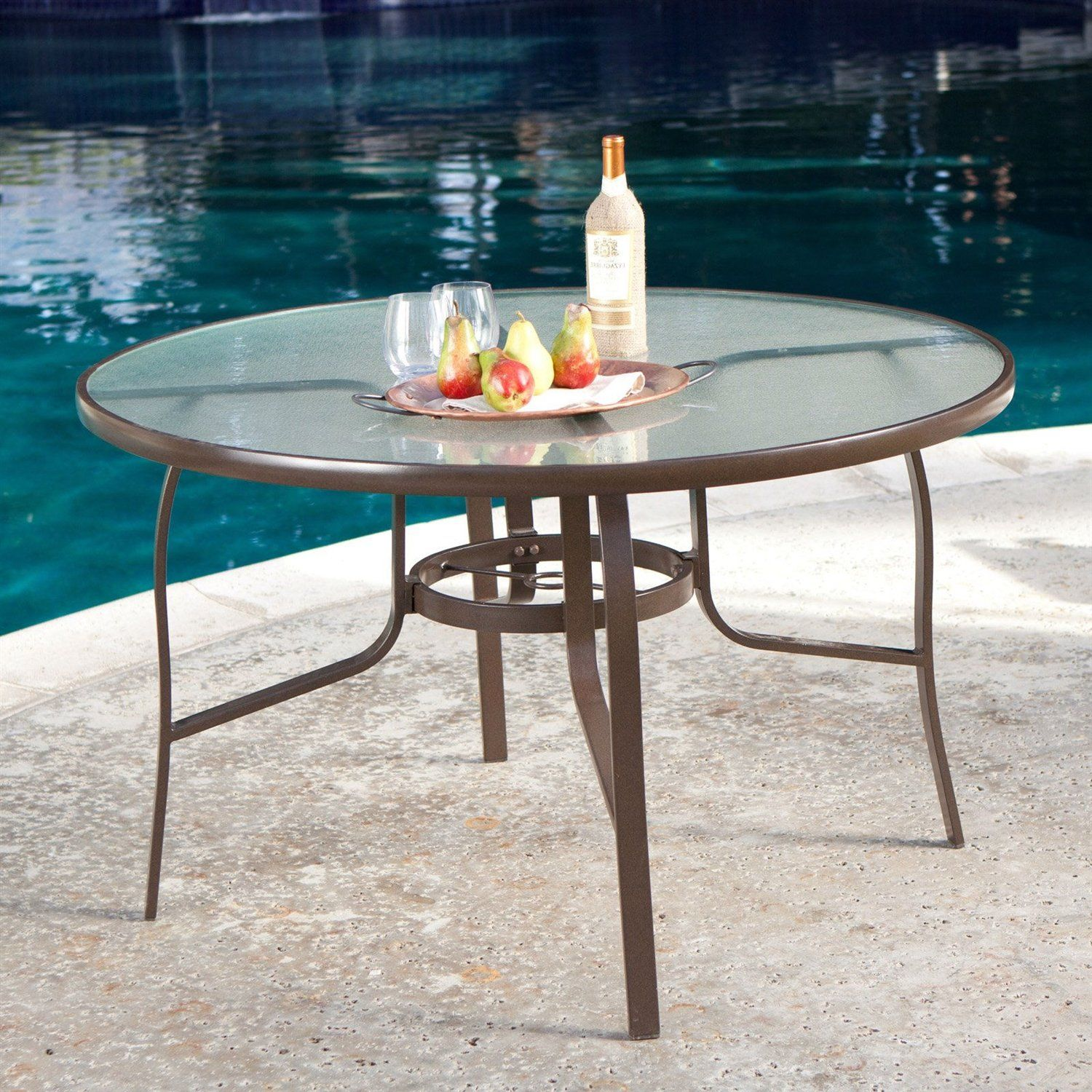 48 Inch Round Glass Top Outdoor Patio Dining Table With Umbrella