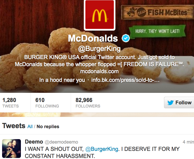 burger king s twitter got hacked and tweeted crazy mcdonald s