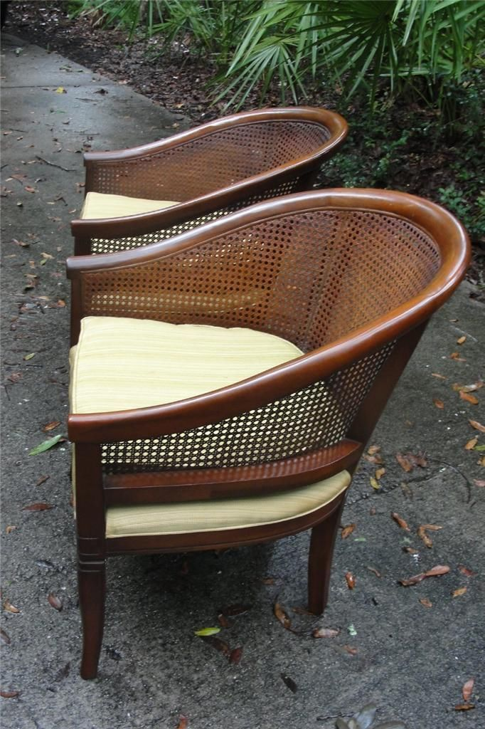 Mid Century Cane Back Barrel Chairs Hollywood Glam 2 Ebay Barrel Chair Upholstered Chairs Cane Back Chairs