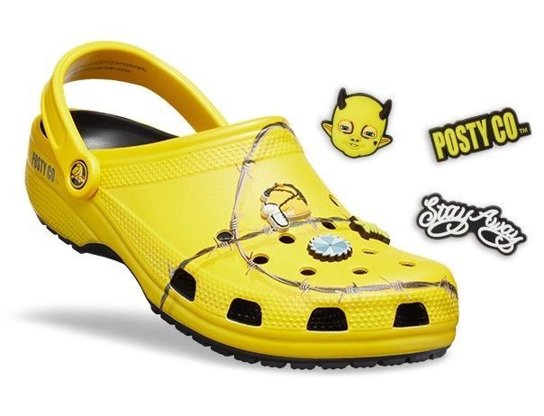 Post Malone Barbed Wire: Post Malone Yellow Barbed Wire Crocs Size 6 #fashion