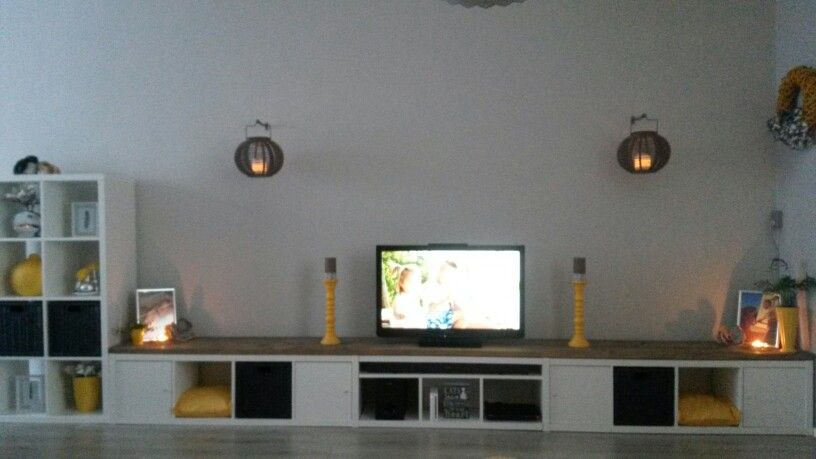 Expedit Tv Kast.Diy Tv Meubel Van O A Ikea Kallax Kasten Interieur Woonkamer