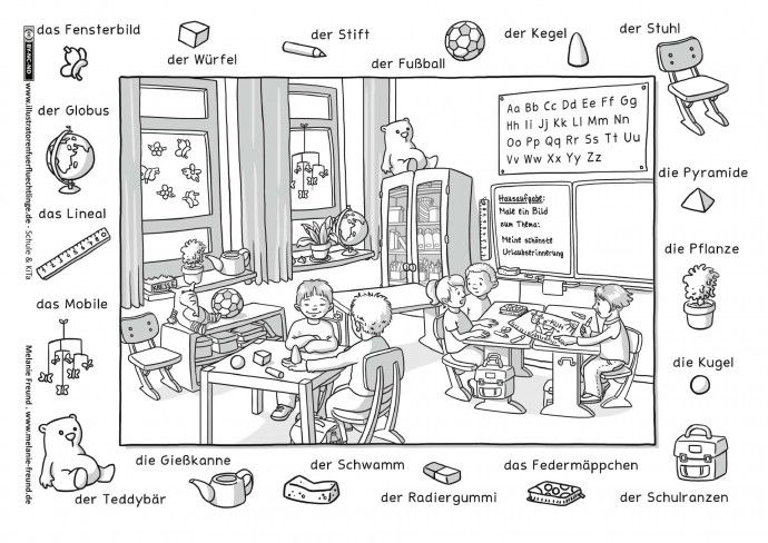 Klassenzimmer Hidden Pictures German Language Learning First Day School