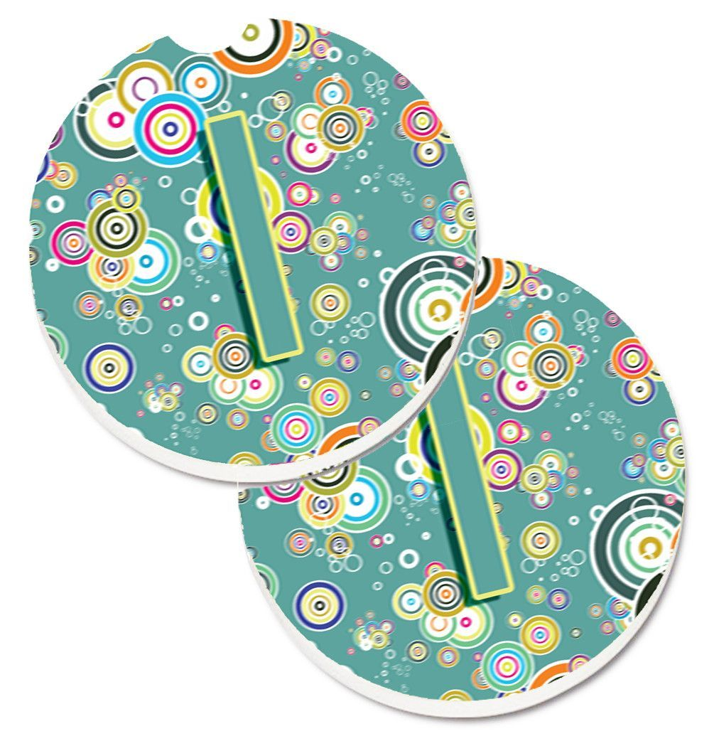 Letter I Circle Circle Teal Initial Alphabet Set of 2 Cup Holder Car Coasters CJ2015-ICARC