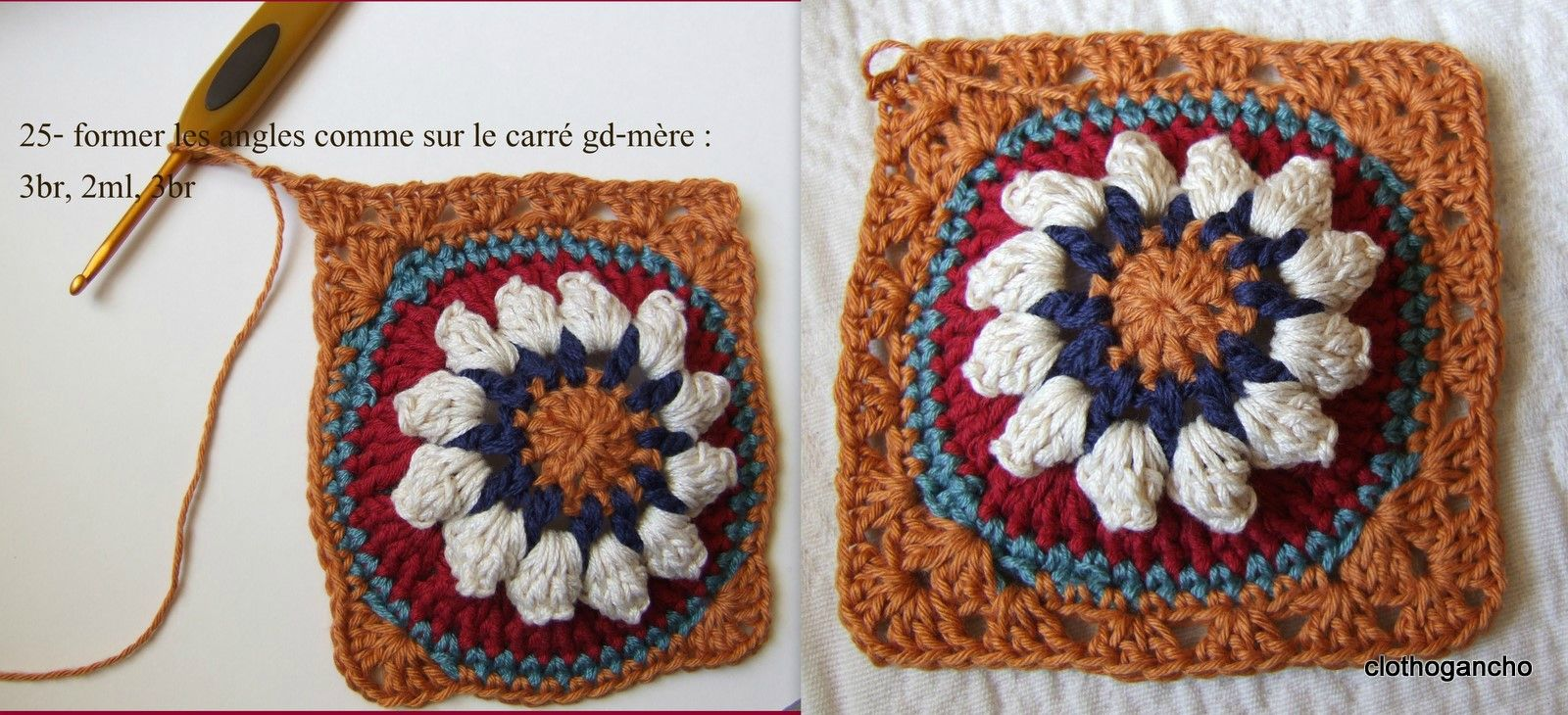 Bobble stitch granny square tutorial by clothogancho. In French with ...