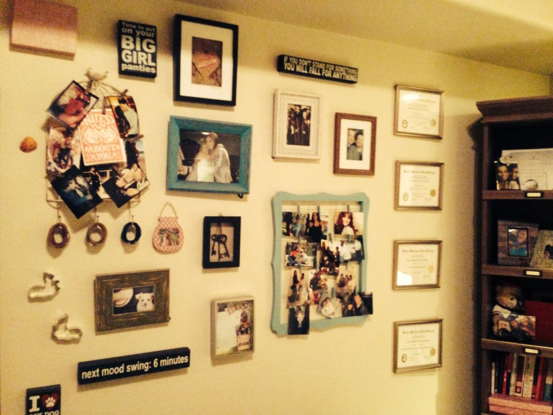 To decorate my wall, I decided on a spread out wall collage of ...