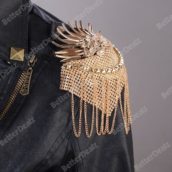 Golden Phoenix Tassels Punk Rivet Epaulet Shoulder Board