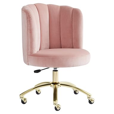 Luxe Velvet Dusty Rose Swivel Desk Chair In 2020 Swivel Chair Desk Task Chair Home Office Chairs