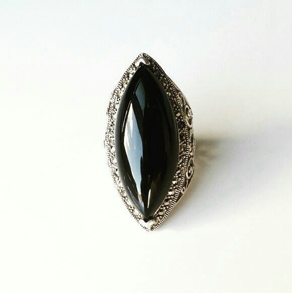 Elegant ring 925 silver stone black onyx  size 6.5US | Jewelry & Watches, Vintage & Antique Jewelry, Fine | eBay!