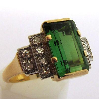 Tourmaline, Diamond & Gold Ring