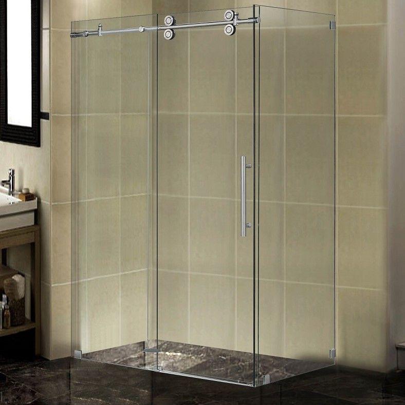 48 X 34 X 75 Completely Frameless Sliding Shower Door Enclosure