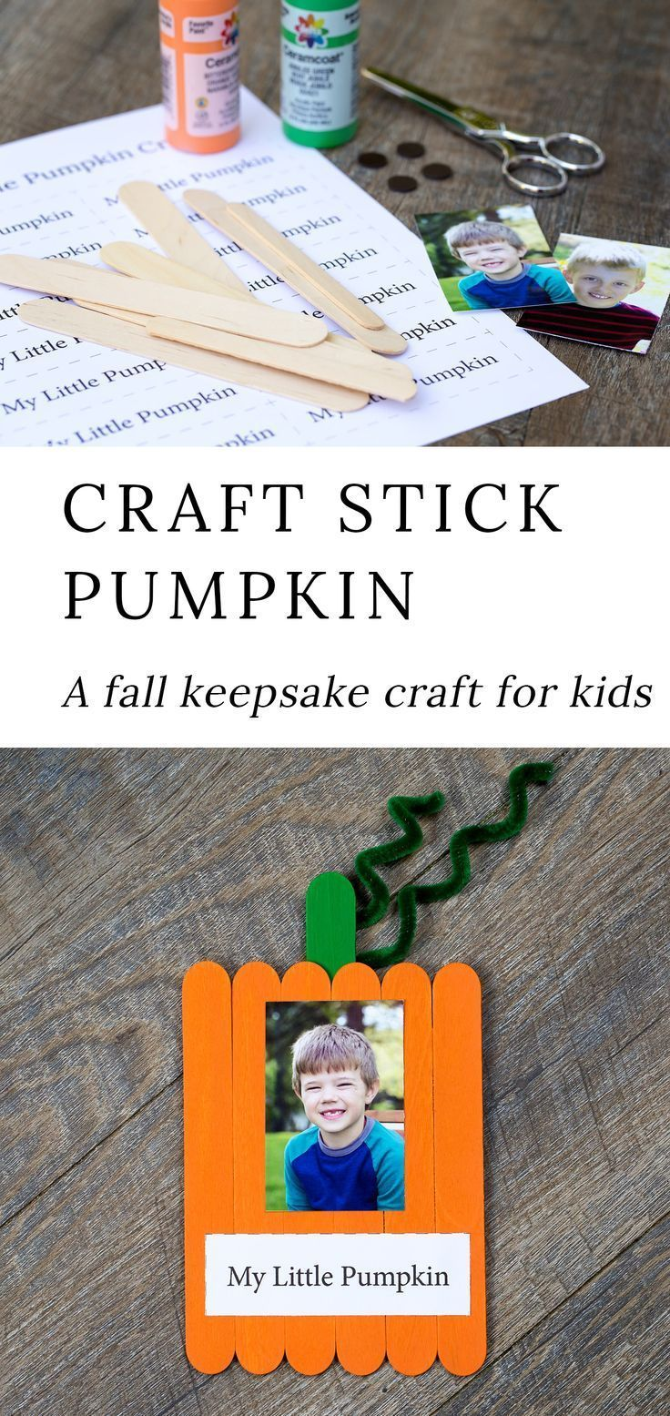 How to Make a Sweet Popsicle Stick Pumpkin Keepsake #pumpkincraftspreschool This…