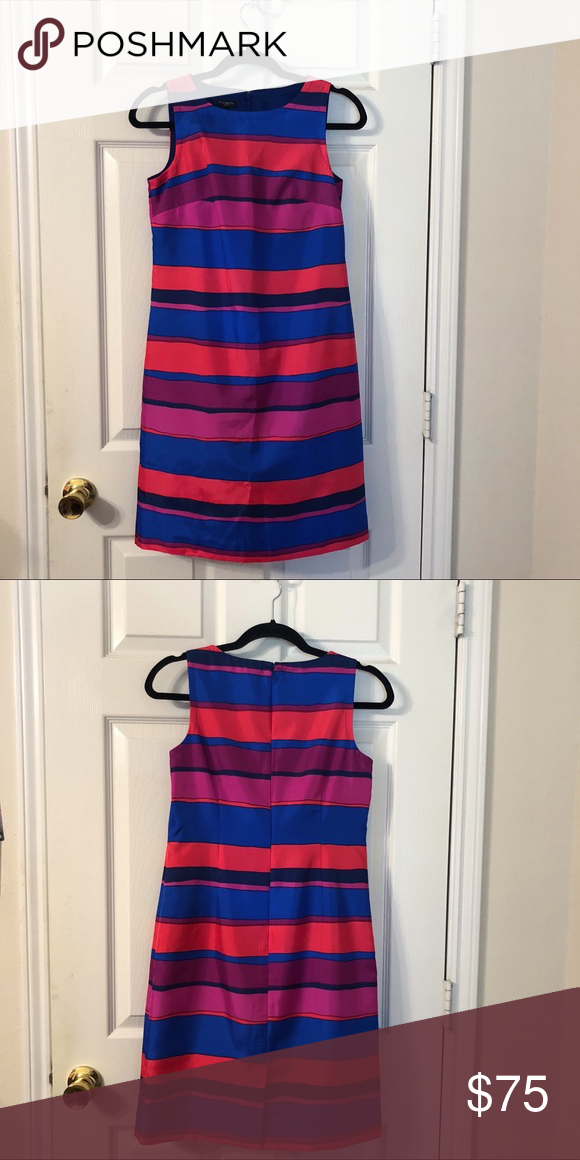 00bf32d8480  Talbots  Multicolored Striped Sheath Dress Sleeveless dress. Petite. 100%  Polyester. Measurements  Bust - 33.5 Waist -26.5 Hips -36.5 Talbots Dresses  Midi