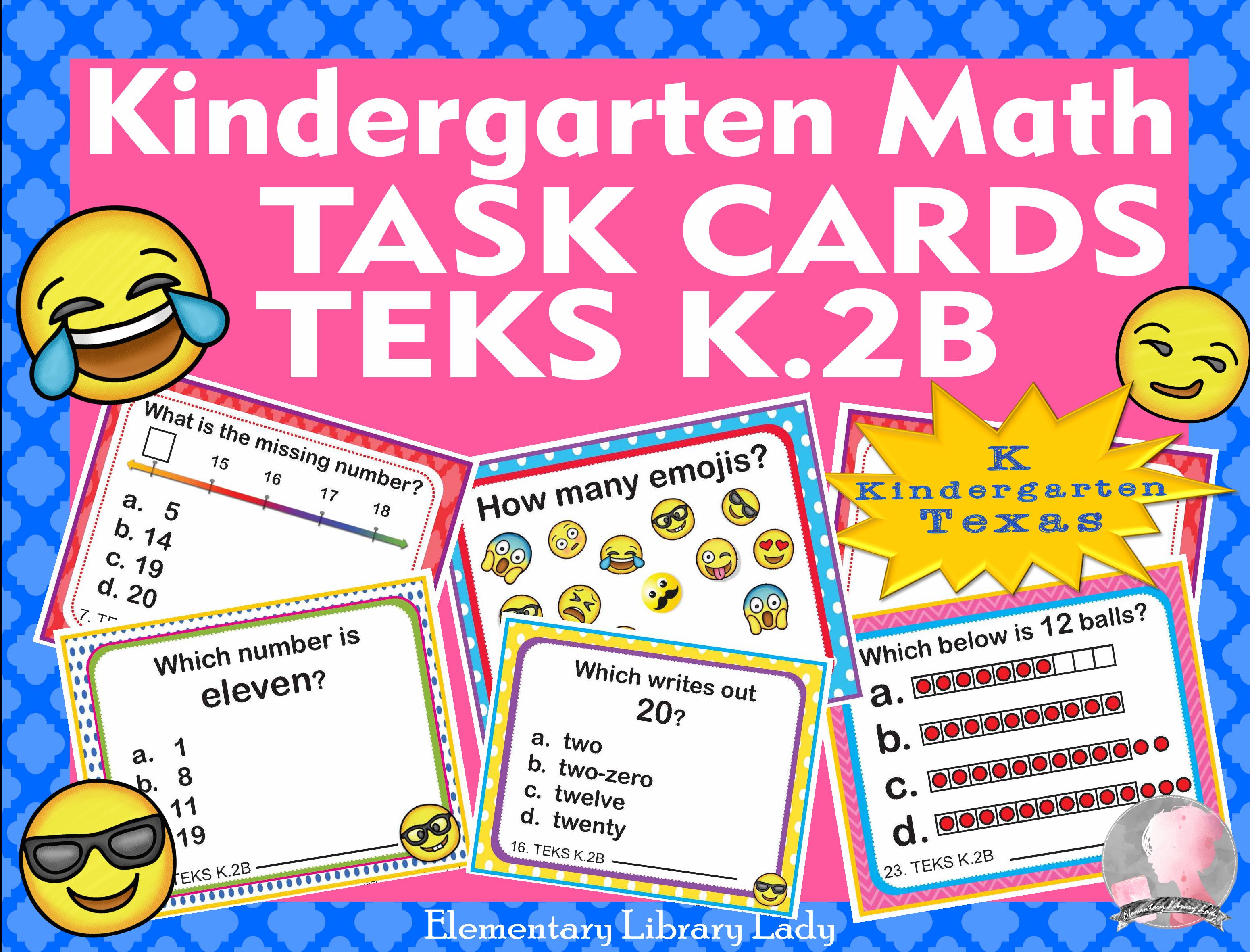 Teks K 2b Texas Kindergarten Math Task Cards Read And Write Numbers To 20 Math Task Cards Math Tasks Elementary Task Cards [ 2360 x 3100 Pixel ]