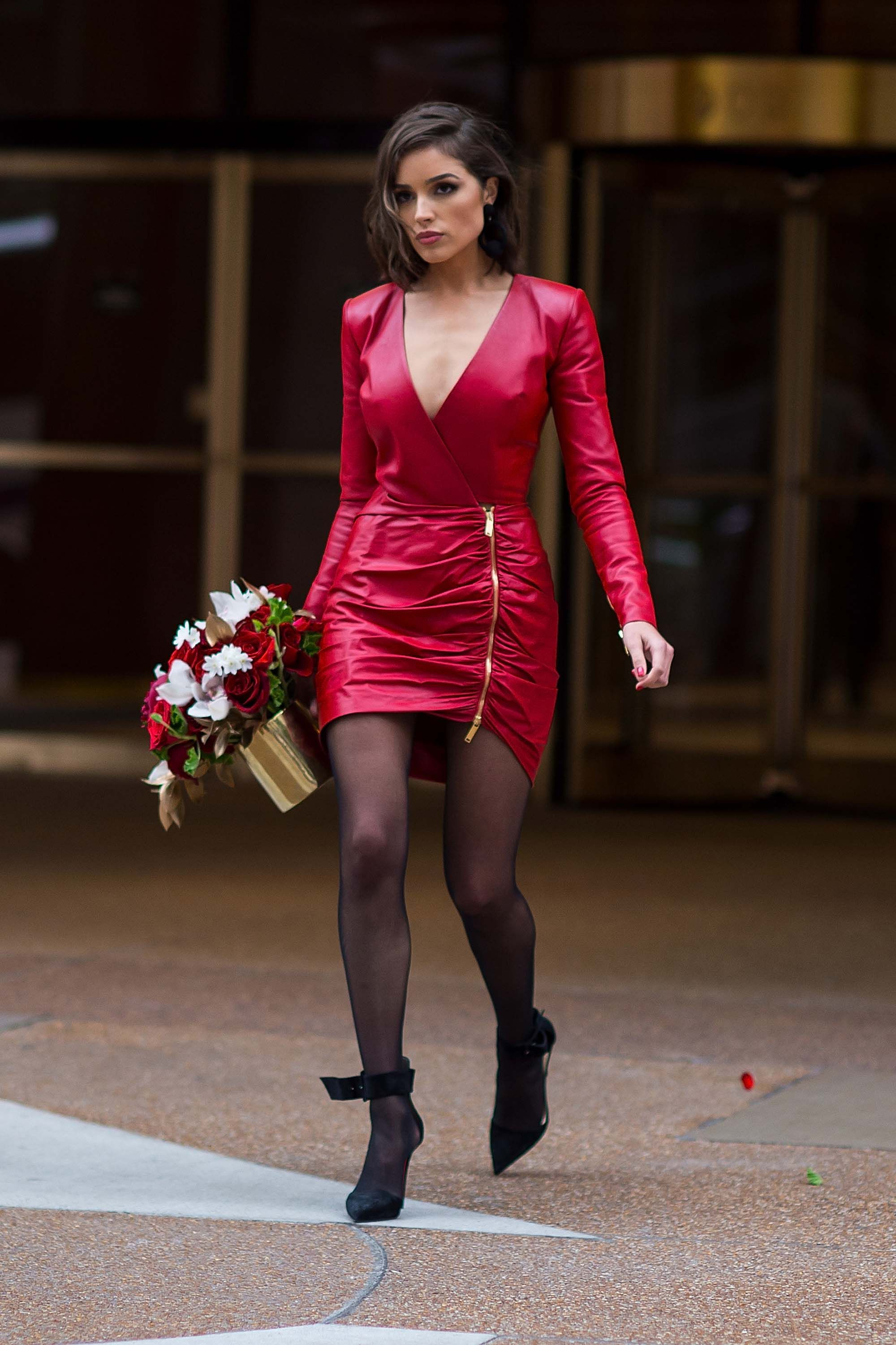 98913c27e4d1c Olivia Culpo out and about in Midtown NYC | 100% Sexy Leather Ladies ...