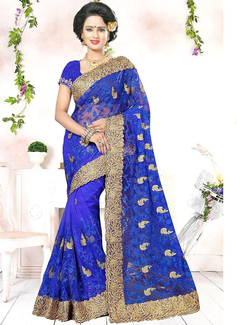 Shop saree online buy this strange blue designer traditional saree