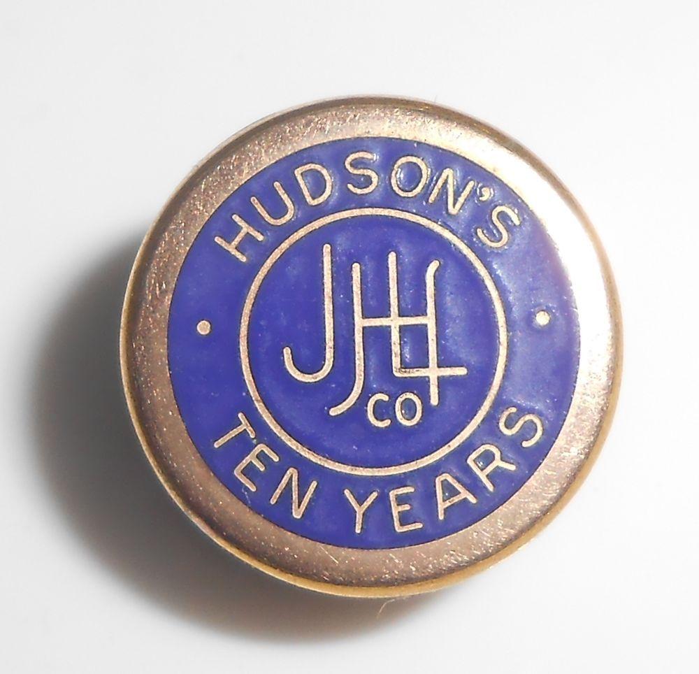 J L Hudson S Dept Store Gold Filled Enamel 10 Year Service Award Pin 1960 S Service Awards Dept Store Hudson