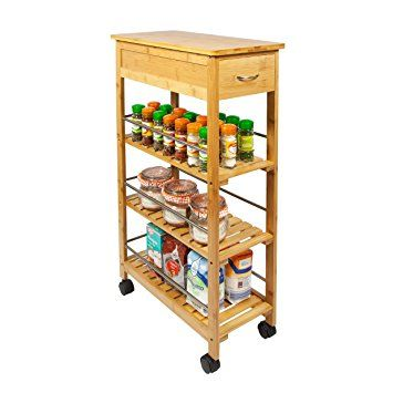 Woodluv Slimline E Saver Bamboo Kitchen Islands Storage Trolley Cart Natural