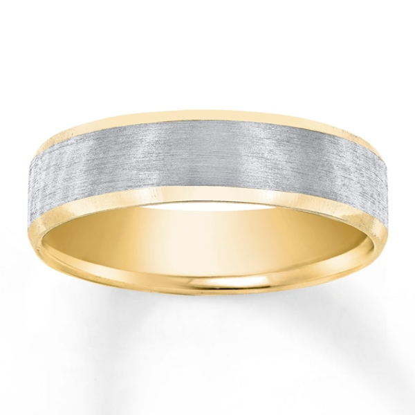 Men S Wedding Band 10k Two Tone Gold In 2020 Wedding Men