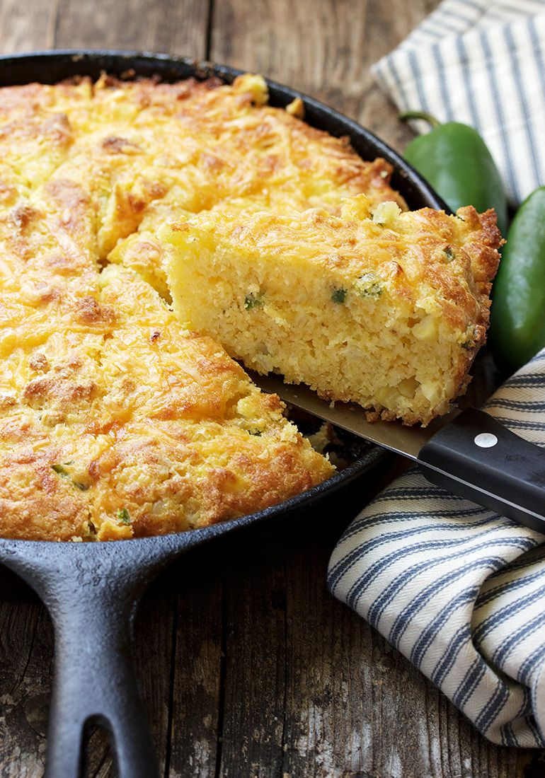 Jalapeno Cheddar Corn Skillet Cornbread- Super moist and buttery, filled with roasted jalapeno, cheddar & corn kernels for loads of flavour! via @ ...