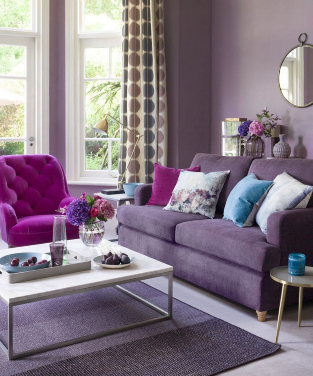 Inspiring 7 Cute Living Room With Purple Color Schemes Design