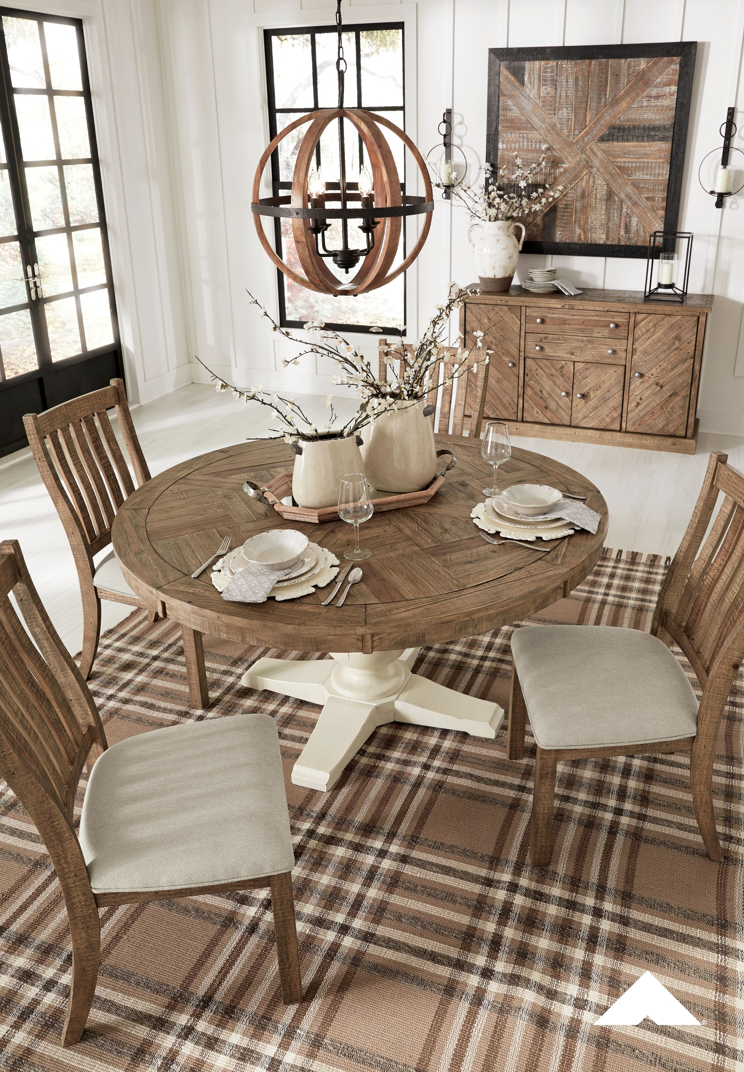Grindleburg Dining Room Set By Ashley Furniture Pastoralcharm Farmhouse Farmho Round Dining Room Table Ashley Furniture Dining Furniture Dining Room Table