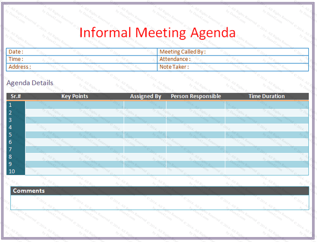 Informal Meeting Agenda Template V  Agendas    Template