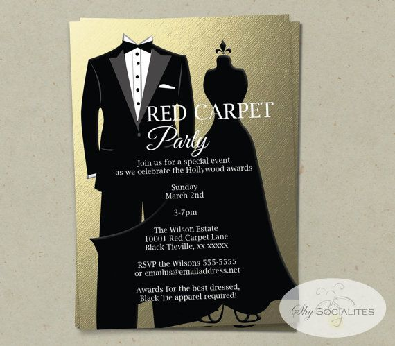 Gold Black Tie Invitation INSTANT DOWNLOAD Faux Foil, Metallic - best of sample letter of invitation to special event
