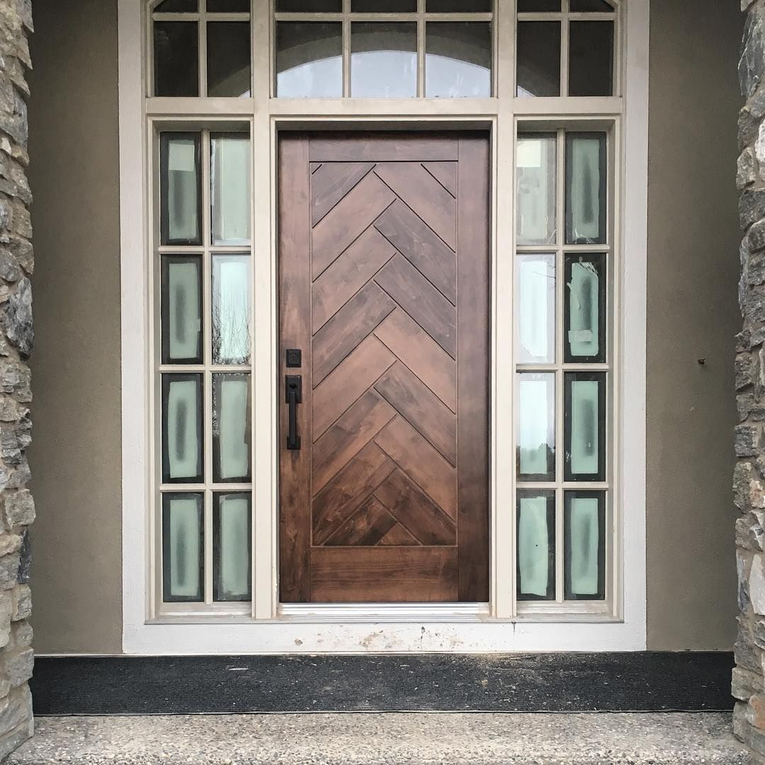Some Clean Up To Be Done But This Herringbone Front Door Is Already A Show Stopper At Silverhor Custom Front Doors Unique Front Doors Fiberglass Exterior Doors