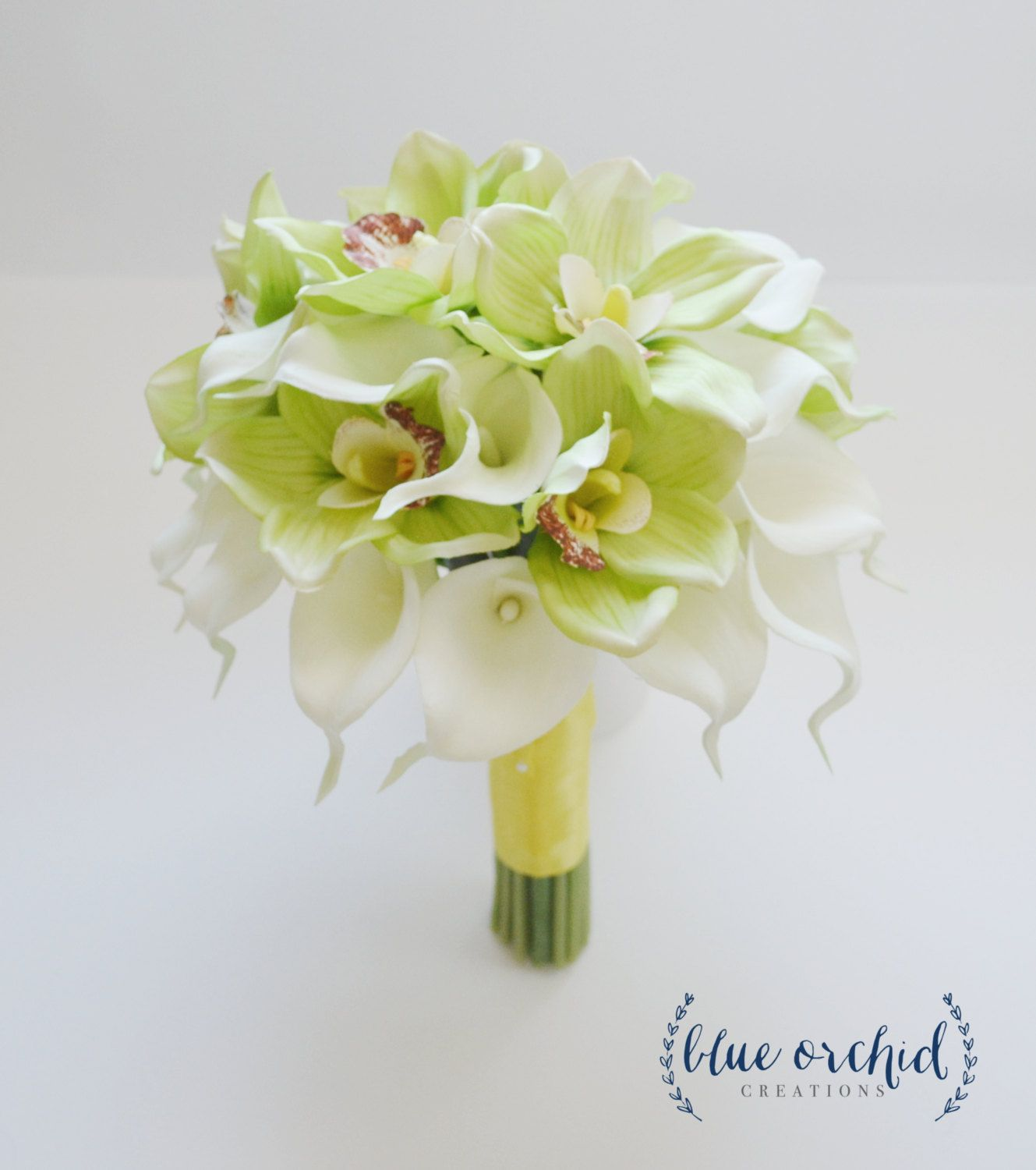 Cymbidium Orchid And Calla Lily Tropical Wedding Bouquet In Cream And Lime Green With Images Tropical Wedding Bouquets Beautiful Bridal Bouquet Tropical Wedding