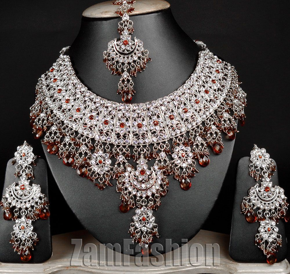 Indian Wedding Bollywood Jodha Akbar E54 Silver Tone Coffee Divya Necklace Set