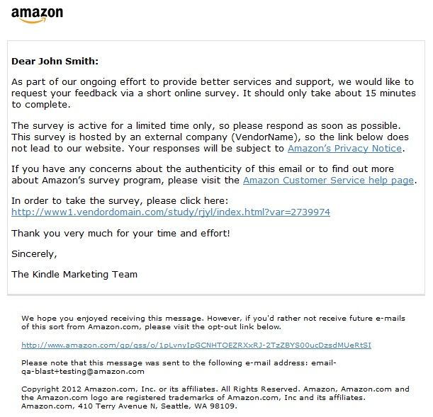 AmazonSmile Help About Amazon Consumer Survey E-mails AMAZON - free customer satisfaction survey template