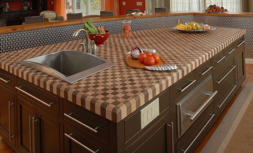 Kitchen Checker Board Butcher Block Countertop And Stainless Steel