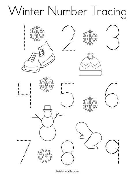 Winter Number Tracing Coloring Page - Twisty Noodle ...