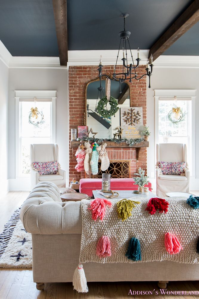 fascinating chesterfield sofa bed floor ceiling living room design | Our Colorful Christmas Holiday Living Room Home Tour | Our ...