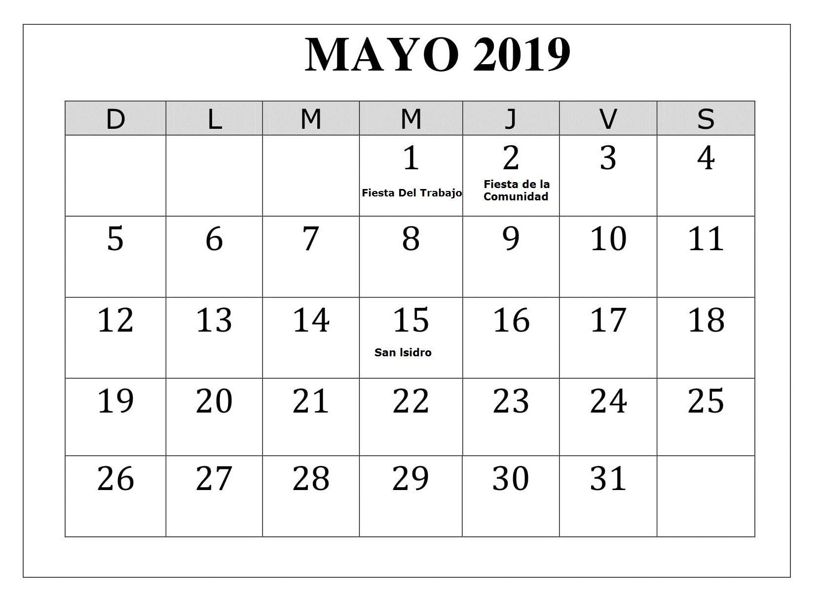 Calendario Grande.Mayo 2019 Calendario Con Festivos Grande Calendario Mayo