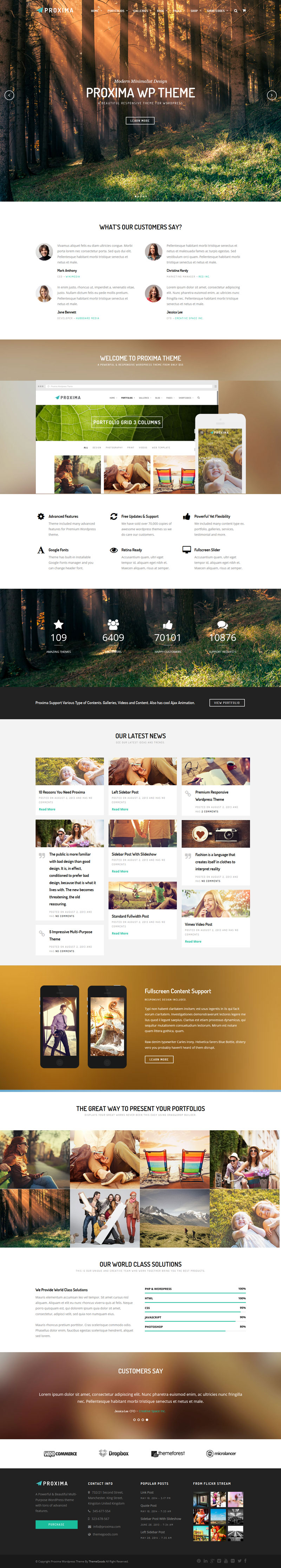 Proxima - Business Theme, flat web design website, example