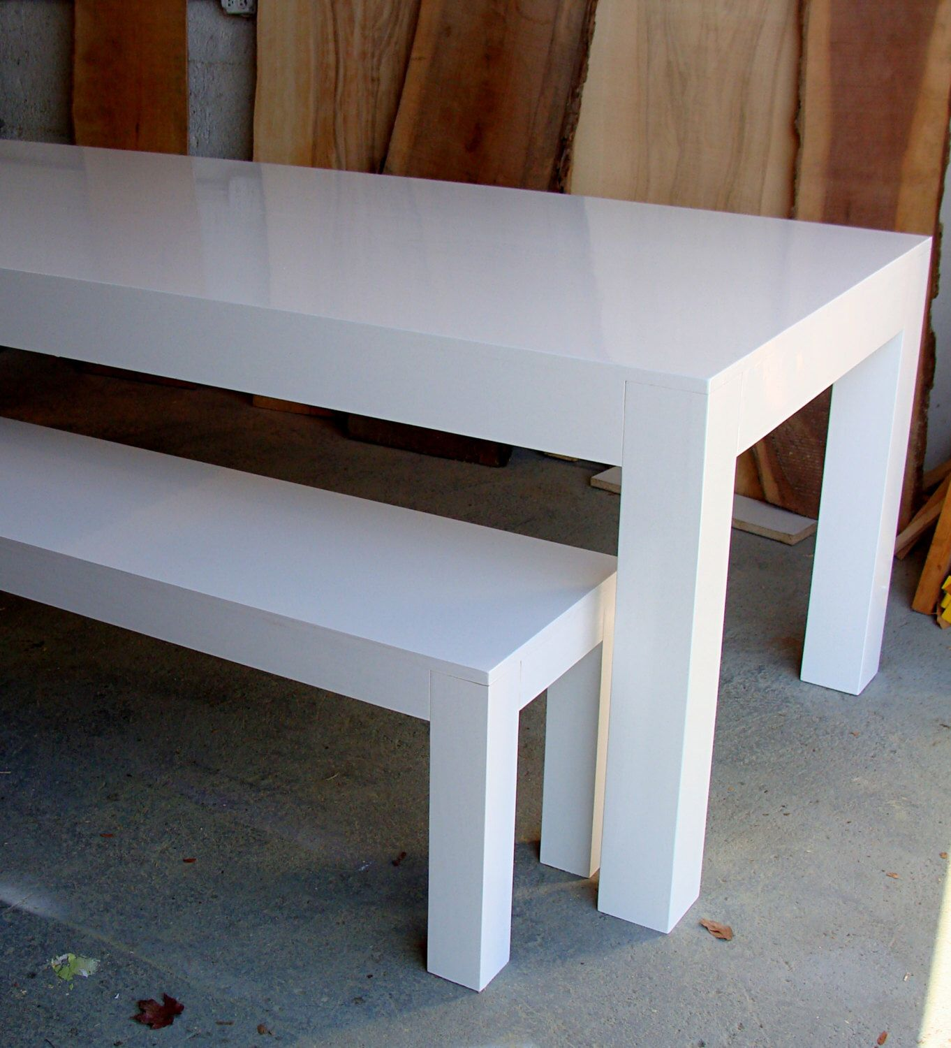 ON SALE modern white Parsons table and bench dining set high gloss ... | parsons furniture ashland ky