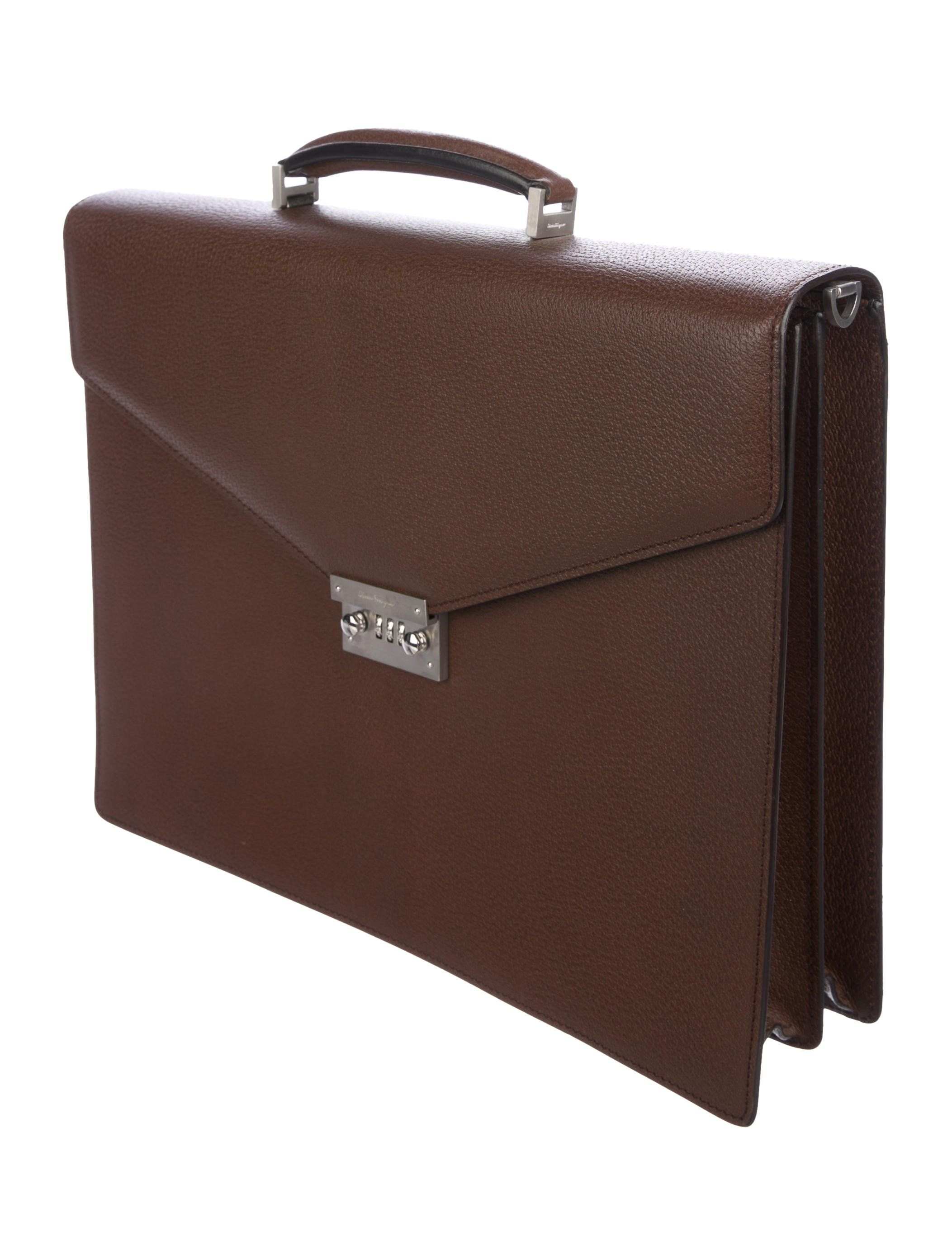 eba3c371806a Men's brown textured leather Salvatore Ferragamo briefcase with brushed  silver-tone hardware, single flat top handle, single detachable flat  shoulder strap ...