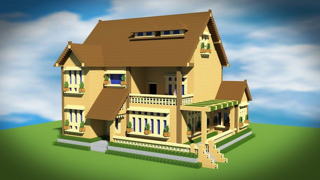 Minecraft How To Build A Wooden Mansion House Tutorial マイン